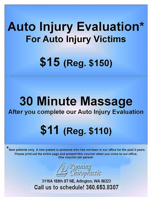 Chiropractor Arlington WA Auto Coupons